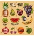 Pixel fruit kraft vector image