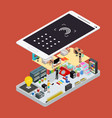 social media promotion online concept 3d isometric vector image