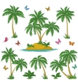 Tropical island palms and butterflies vector image