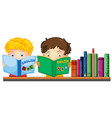 Kids reading english book vector image
