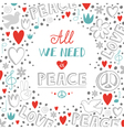 doodle white love and peace theme background with vector image