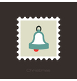 Christmas bell flat stamp vector image