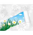 Winter chamomile meadow card vector