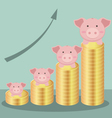 Cute Piggy Bank With Stack Coins Form Bar Chart vector image