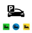 black car parking icon vector image