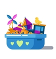 Children toys in box with hearts or chest vector image
