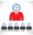 mans face showing time of different countries vector image