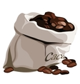 Bag with flavored coffee beans isolated vector image