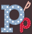 Set of stitched font - Letter P vector image