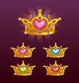 cool princess crowns set vector image