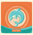 dolphin symbol retro poster with blue sea wave on vector image