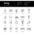simple army lline icons vector image