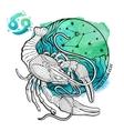 Cancer zodiac signHoroscope circleWatercolor vector image vector image