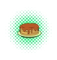 Stack of pancakes with syrup icon comics style vector image