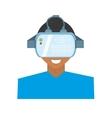 character young man virtual reality glasses vector image