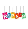 colorful hanging cardboard Tags - repair vector image