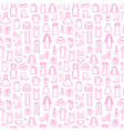 Fashion icons in seamless pattern vector image