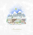 vintage invitation card with cute cityscape winter vector image