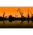 Working cranes in sea port vector image