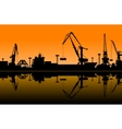 Working cranes in sea port vector image vector image