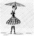 strange girl in the rain vector image vector image