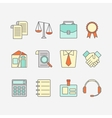 set of color flat line icons for law firm vector image
