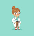 cartoon character of little baby girl in medical vector image