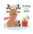 Cute Christmas deer with little bird and gift vector image