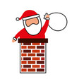 merry christmas santa claus in the chimney with vector image
