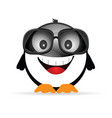 penguin funny with sunglasses vector image