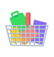 shopping basket with goods flat icon vector image