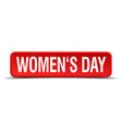 womens day red 3d square button isolated on white vector image