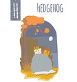 vertical of hedgehog with colorful autumn vector image