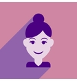Flat web icon with long shadow women s haircut vector image