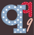 Set of stitched font - Letter Q vector image