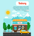 bakery advertising banner with shop building vector image vector image