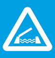 Lifting bridge warning sign icon white vector image