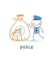 Police stands with a bag of money vector image