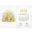 Cute sweet town calendar for 2016 September vector image vector image