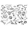 Doodle set of tailor business vector image