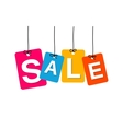 colorful hanging cardboard Tags - sale vector image