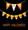 happy halloween card bunting flags pack boo vector image