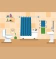 orange bathroom with furniture vector image