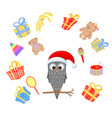 owl on the branch in the santa claus hat and scarf vector image