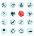 set of 16 eco-friendly icons includes cloud vector image