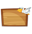A flying duck and the empty board vector image vector image