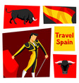 traditional spanish corrida bull and toreador vector image