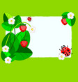 small paper strawberry and ladybug vector image vector image