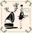 vintage dancing lady vector image