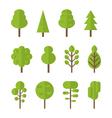 Collection set flat icons tree garden bush vector image vector image